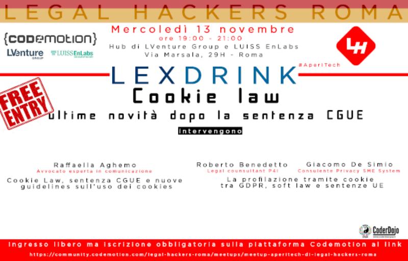 ROMA: Meetup #AperiTech di Novembre di Legal hackers Banner