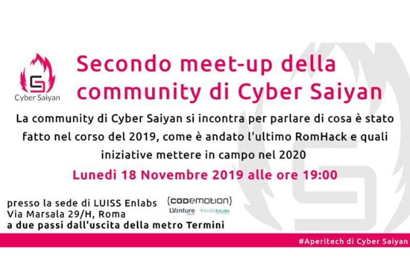 ROMA Meetup #AperiTech di Novembre di Cyber Saiyan Banner