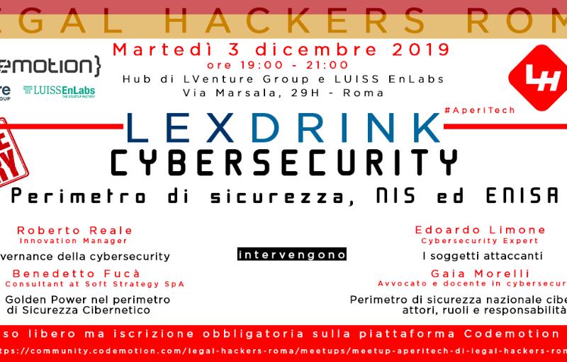Meetup #AperiTech ROMA di Dicembre di Legal Hackers Roma Banner