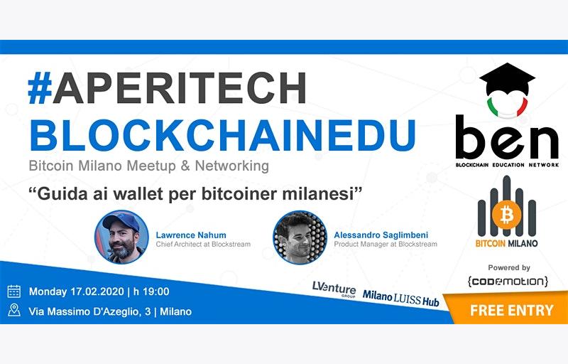 MILANO Meetup #AperiTech di Febbraio di Blockchain Education Network Italia Banner