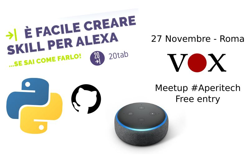 È facile creare skill per Alexa ... se sai come farlo! - Vox machina #AperiTech Banner