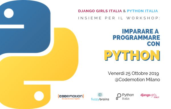 Codemotion Milano: Workshop gratuito di Django Girls in collaborazione con Python Italia! Banner
